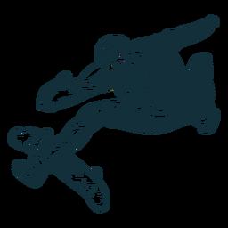 Personagem de truques de skatista preto e branco