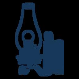 Lanterna de vidro curvo vintage azul