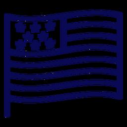 Waving united states flag stroke