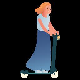 Carácter de mujer patada scooter