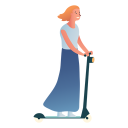 Woman kick scooter character
