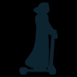 Silueta de mujer patada scooter
