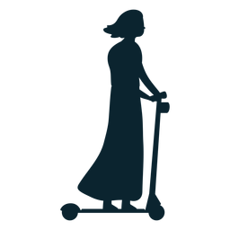 Woman kick scooter silhouette
