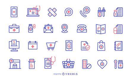 Paquete de diseño de iconos de farmacia