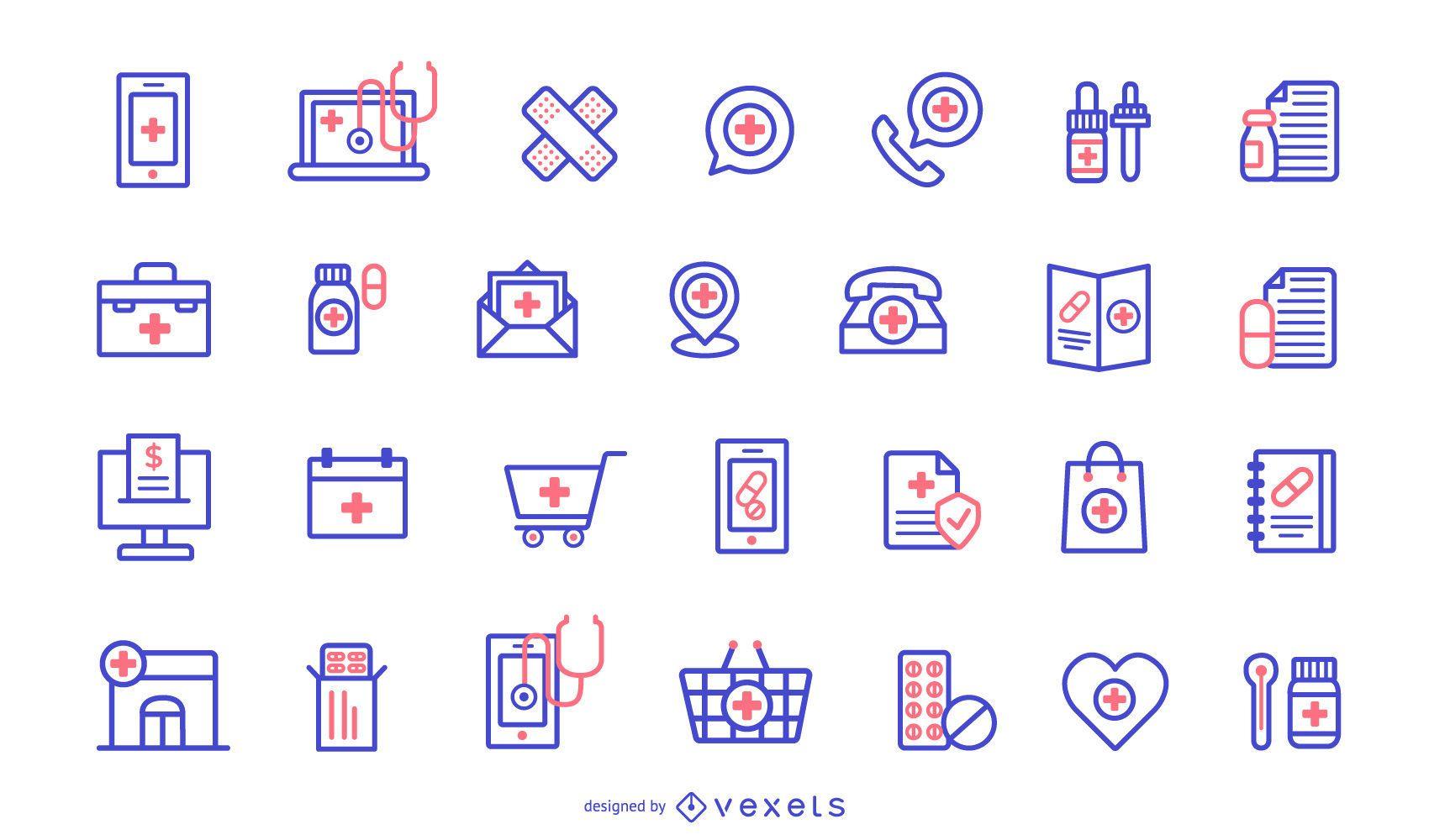 Pacote de Design de Ícones de Farmácia