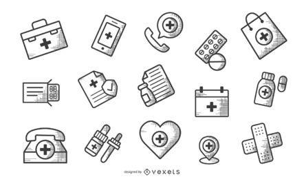 Conjunto monocromo de iconos de farmacia