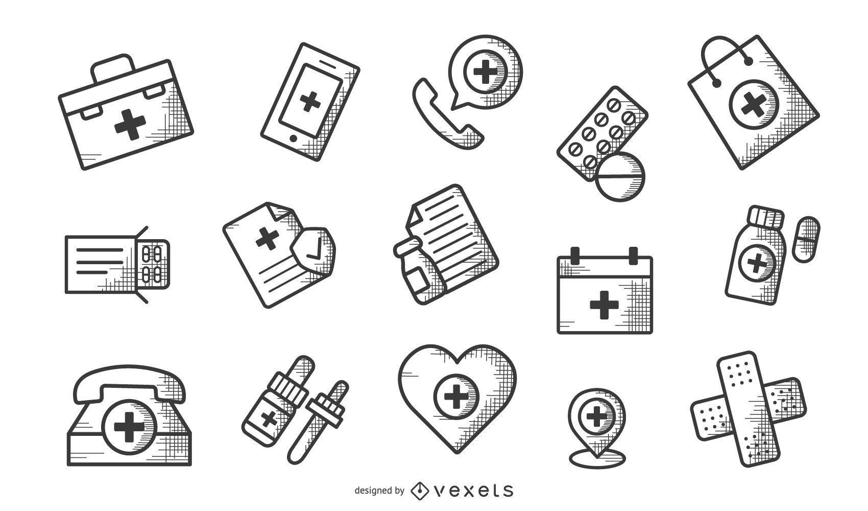 Conjunto de ícones de farmácia monocromático