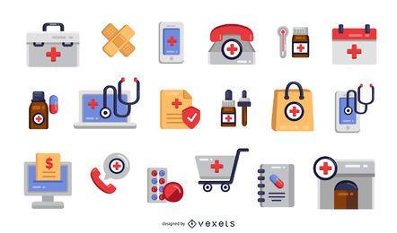 Paquete de iconos planos de farmacia colorida