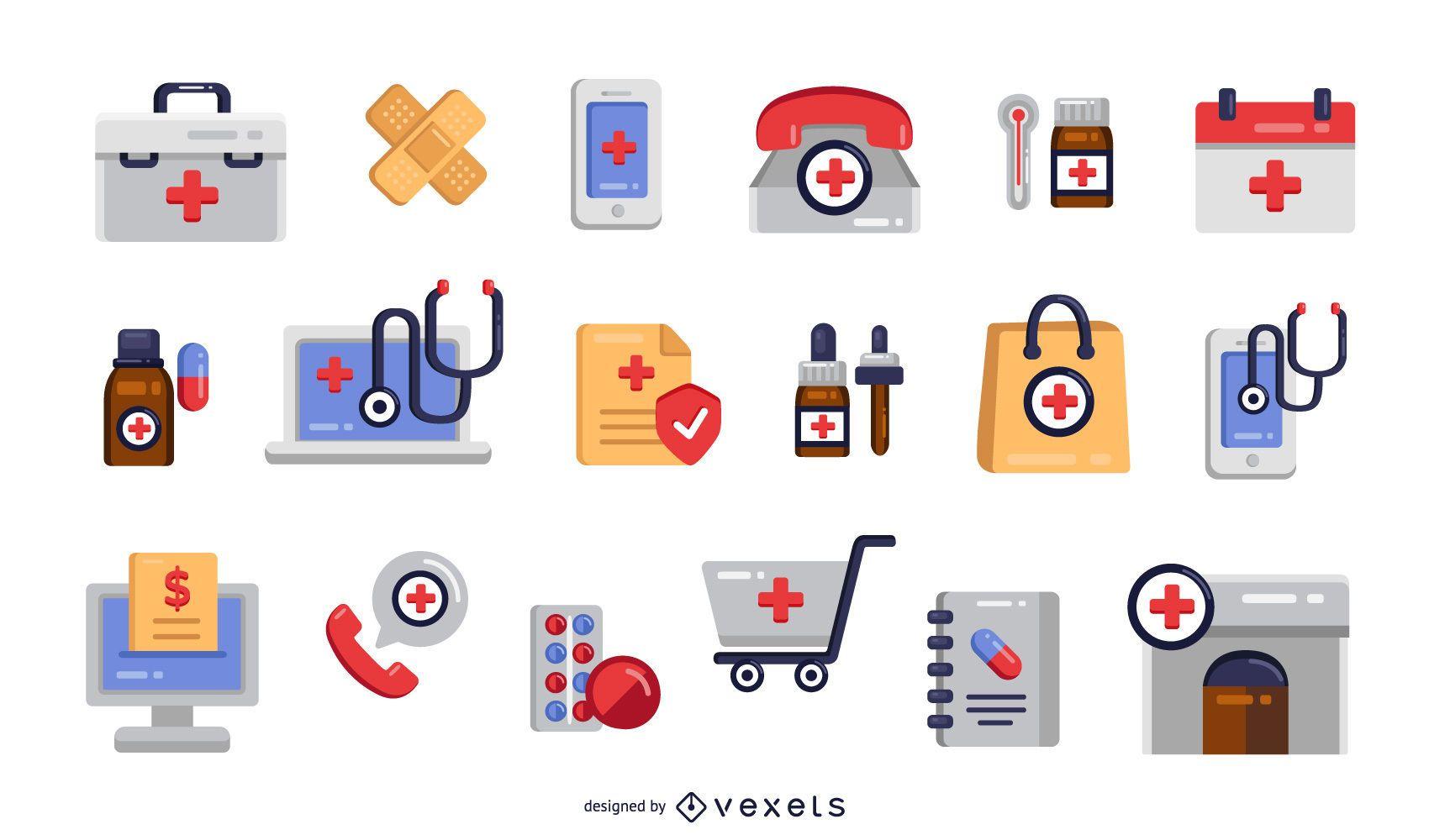 Pacote de ícones planos de farmácia coloridos