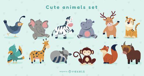 Conjunto de diseño de animales lindos