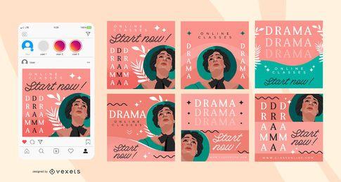 Paquete de pancartas de medios sociales Drama School Square