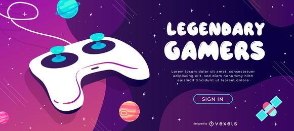 Design de slider da Web para jogadores lendários