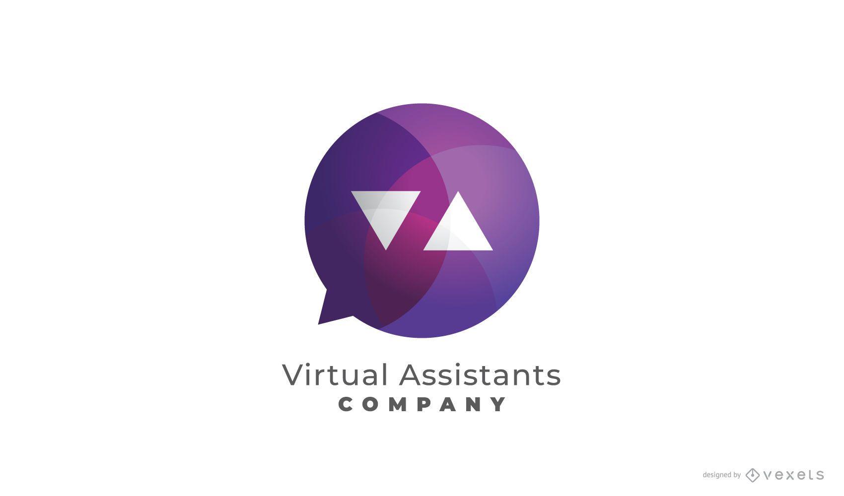 Diseño de logotipo de asistente virtual de icono de burbuja