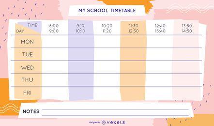 Design do modelo do calendário da semana escolar