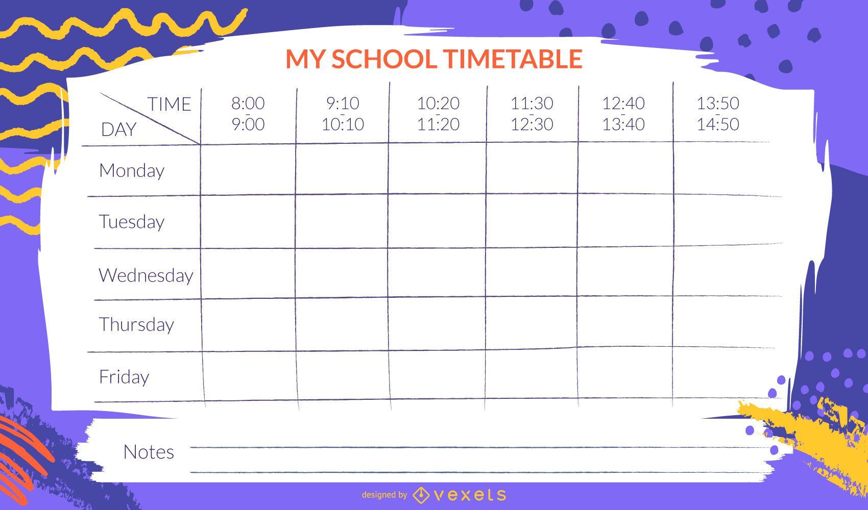 Plantilla de horario de escuela artística