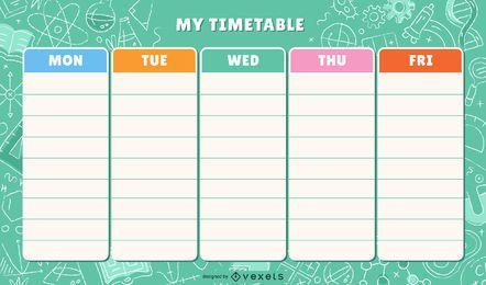 Plantilla de horario colorido escolar