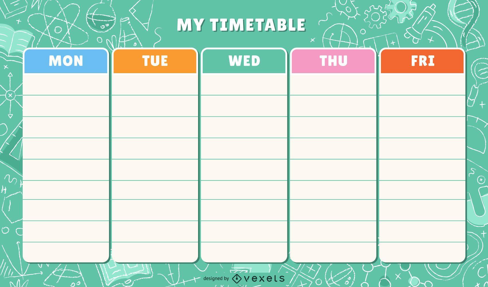 Plantilla de horario escolar colorido