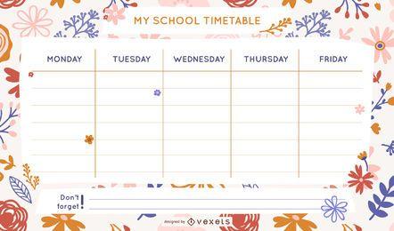 Modelo de horário escolar floral