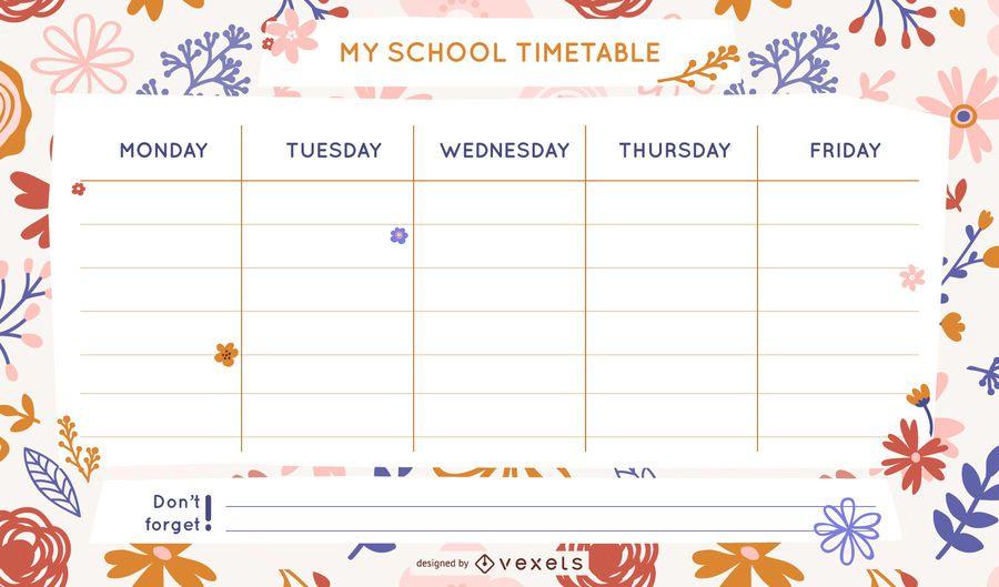 Plantilla de horario escolar floral