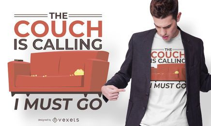 Diseño de camiseta divertida de Couch Calling