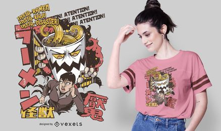 Japanese Ramen Attack T-shirt Design