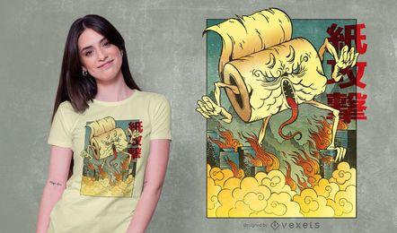 Design de t-shirt de monstro de papel higiênico japonês