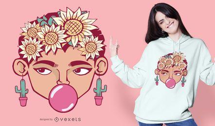 Diseño de camiseta Frida Cartoon