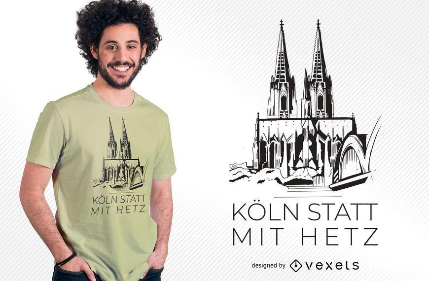 Design de t-shirt da Catedral de Colônia