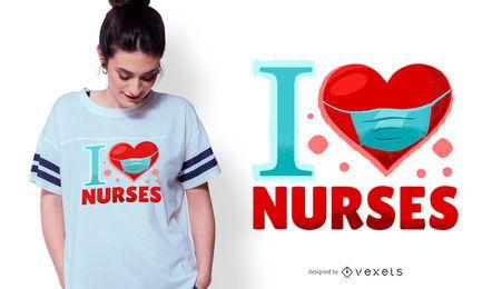 Diseño de camiseta de I Love Nurses