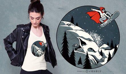 Diseño de camiseta de snowboard con capucha roja
