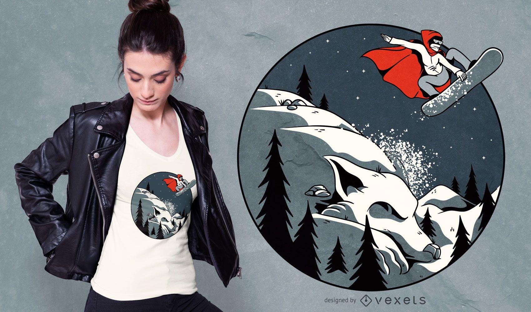 Dise?o de camiseta de snowboard con capucha roja
