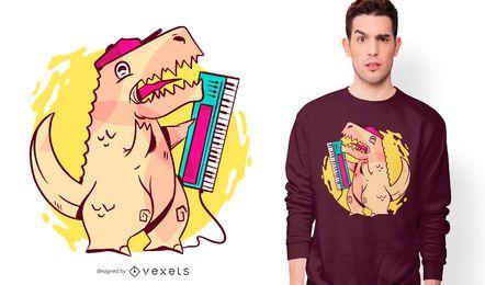 Design de camiseta dos desenhos animados T-rex dos anos 80