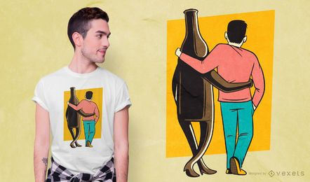 Diseño de camiseta de cerveza y hombre