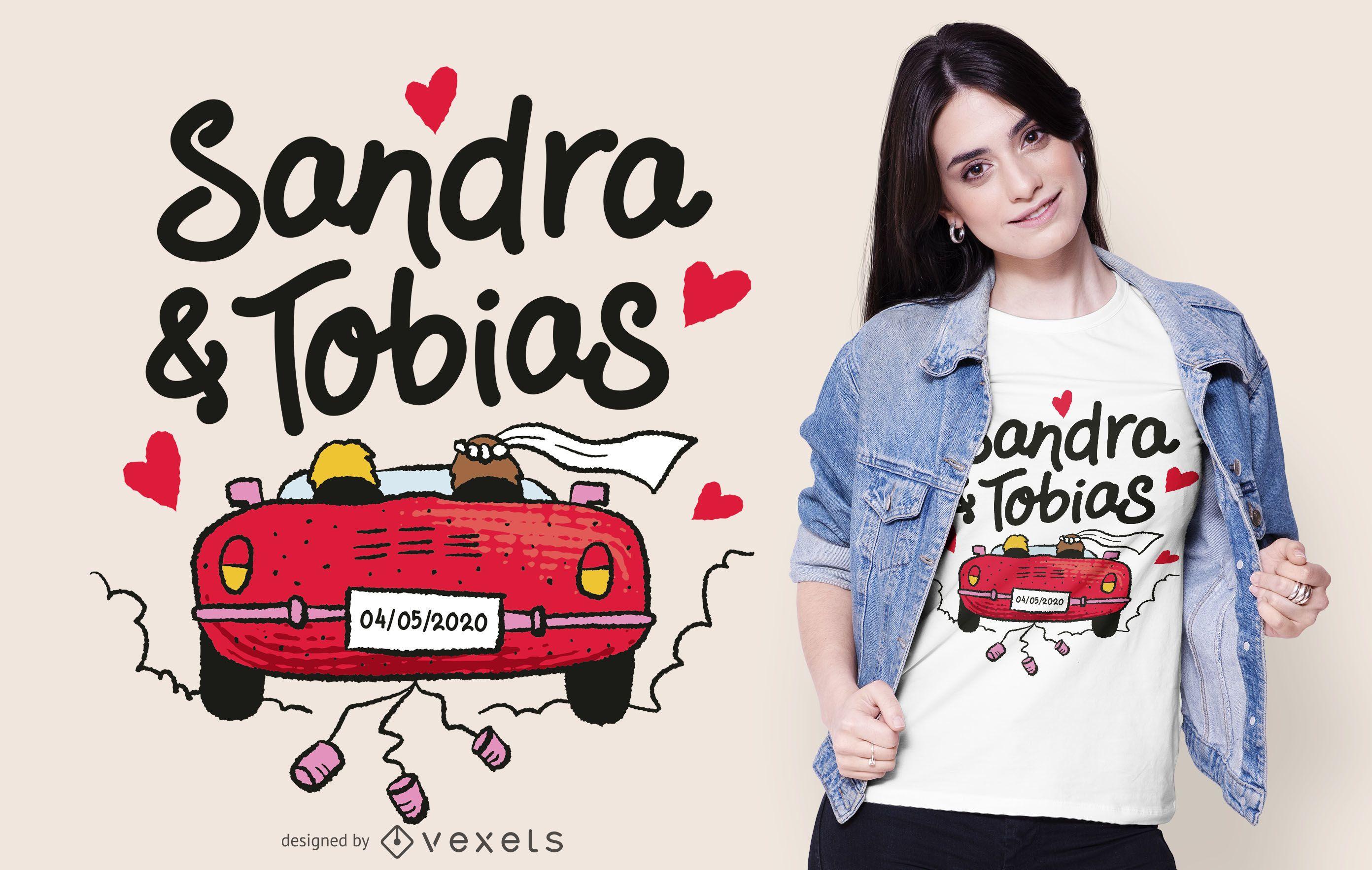 Diseño de camiseta de texto de coche de boda