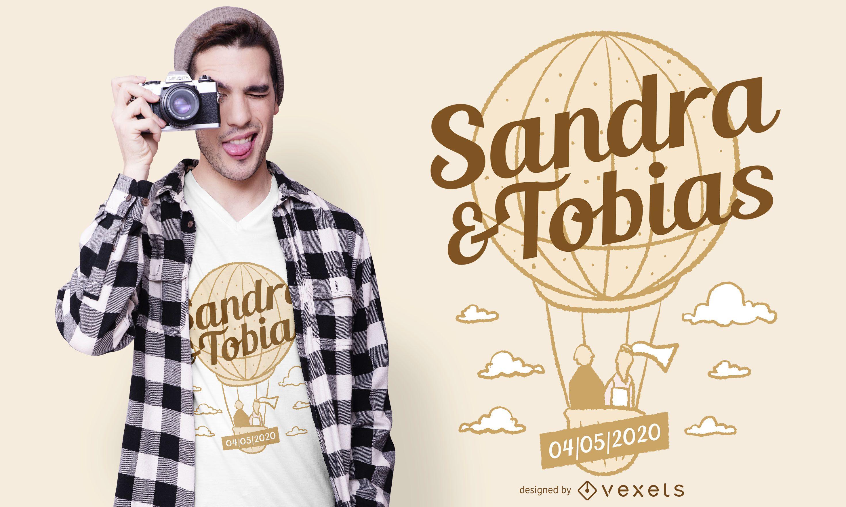 Diseño de camiseta de globo de aire de boda