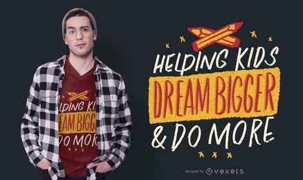 Diseño de camiseta de texto de Helping Kids