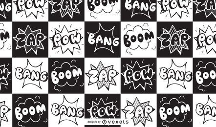Design de padrões de quadrinhos Boom Zap