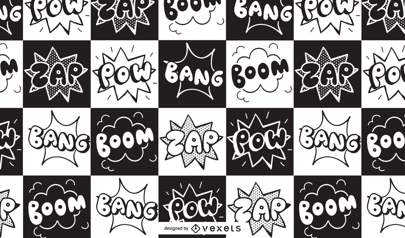Diseño de patrón de cómic Boom Zap