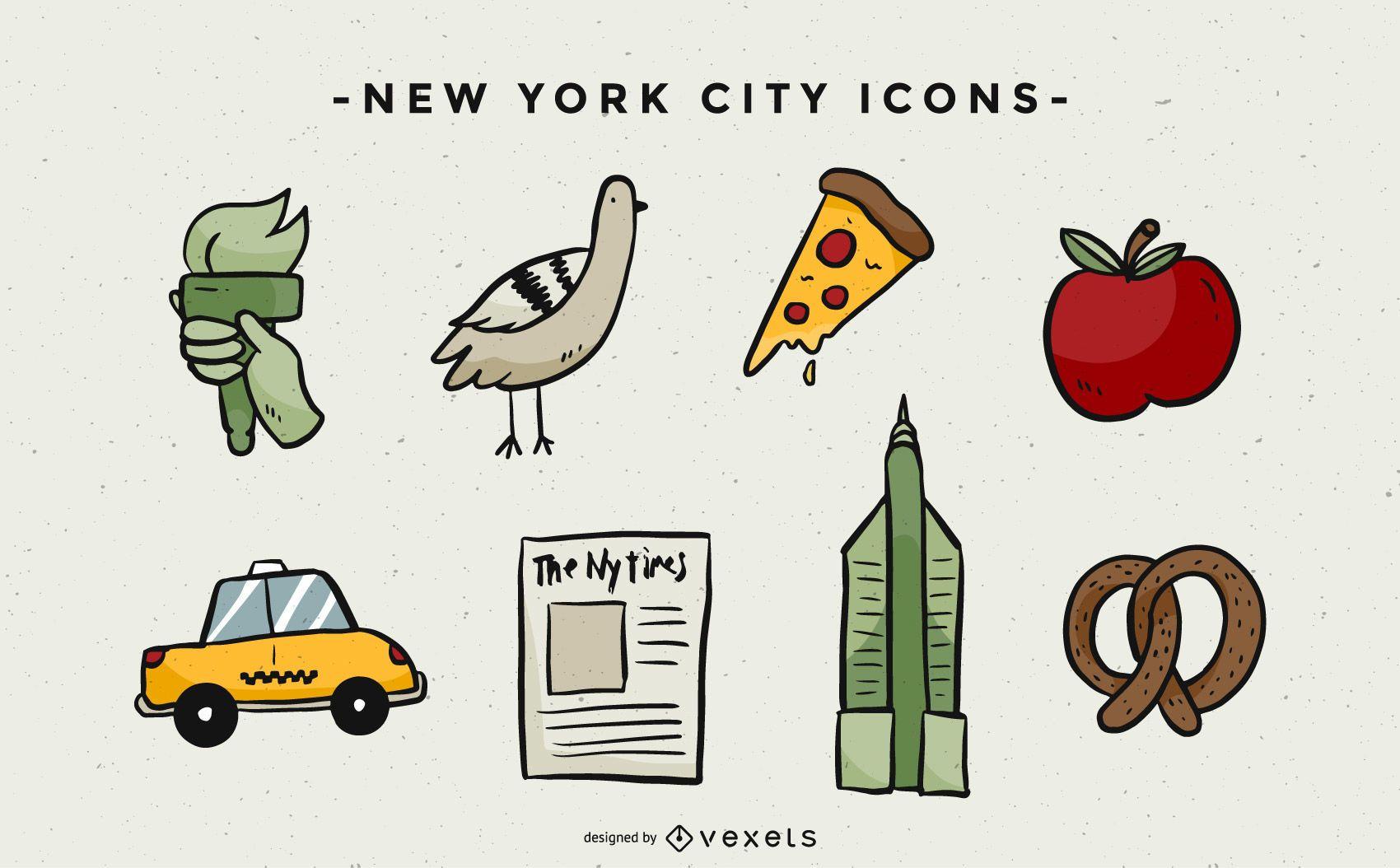 Paquete de iconos ilustrados de NYC