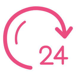 24 hours clock icon stroke pink