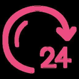 Icono de reloj de 24 horas trazo rosa