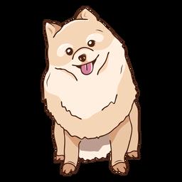 Ilustración de perro Pomerania sentado