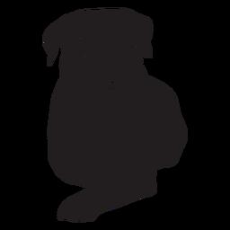 Perro Rottweiler acostado negro