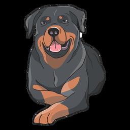 Ilustração de cão Rottweiler deitado