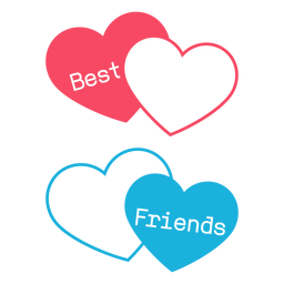 Mejores amigos corazones rosas y azules