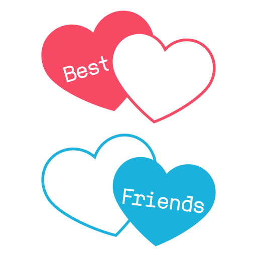 Best friends pink and blue hearts Transparent PNG