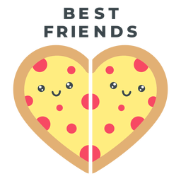 Best friends pizza heart