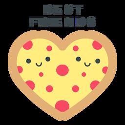 Mejores amigos corazón de pizza