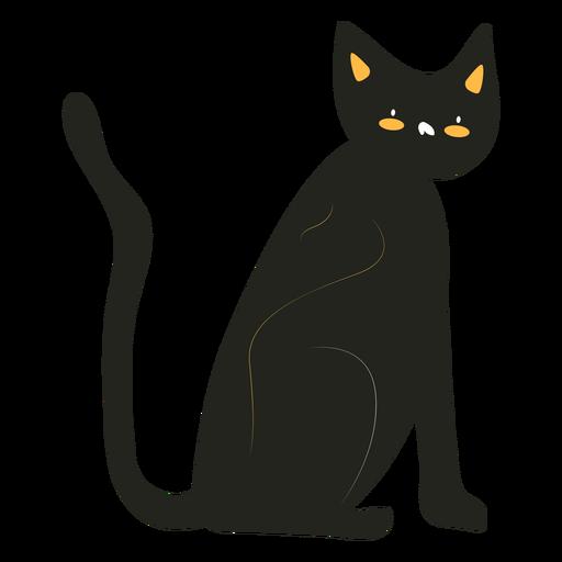 Gato negro plano Transparent PNG