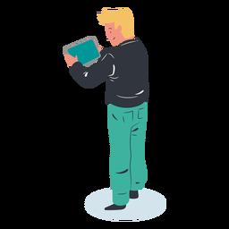 Personaje de tableta de chico rubio isométrico